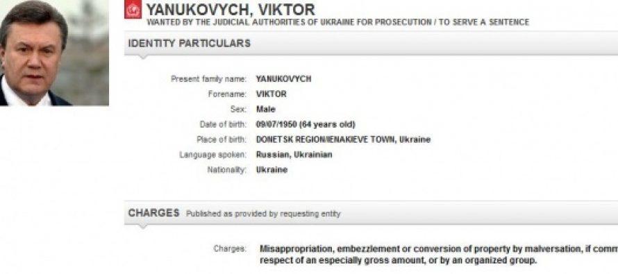 ვიქტორ იანუკოვზე ინტერპოლმა ძებნა გამოაცხადა
