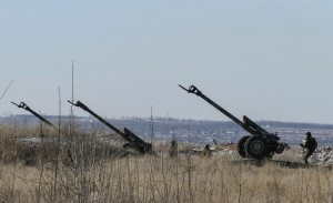 Cannons of the Ukrainian armed forces are seen at their positions near Debaltseve