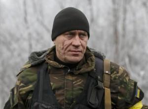 Member of the Ukrainian armed forces poses near Debaltseve