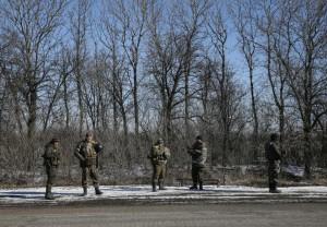 Ukrainian servicemen are seen near Artemivsk