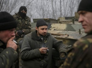 Members of the Ukrainian armed forces are seen not far from Debaltseve