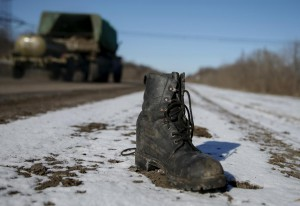 A military boot is seen at the road near Debaltseve