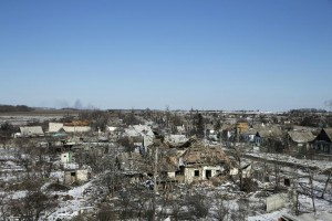 Buildings damaged by fighting are pictured in the village of Nikishine, south east of Debaltseve