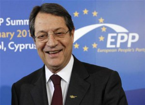 Cyprus' presidential race's forerunner and president of the right-wing Democratic Rally party Nicos Anastasiades looks on before the meeting of European People's Party (EPP) summit in the Cypriot town of Limassol