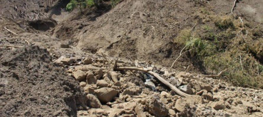 სტიქია თეთრიწყაროში: ადიდებულმა მდინარემ გზა და ხიდი დააზიანა