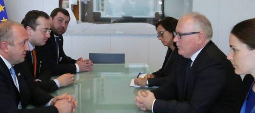 საქართველოს პრეზიდენტი ევროპული კომისიის პირველ ვიცეპრეზიდენტს ფრანს ტიმერმანსს შეხვდა