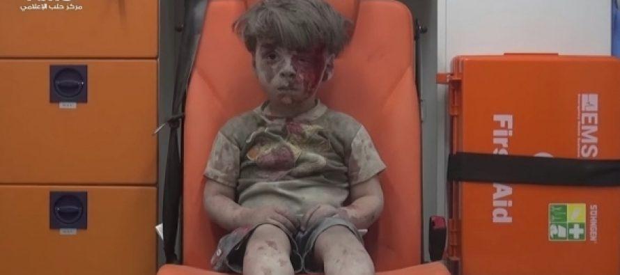 სოციალურ ქსელებში გავრცელდა ვიდეო, სადაც ალეპოში დაბომბვისას დაშავებული ბიჭუნა ჩანს