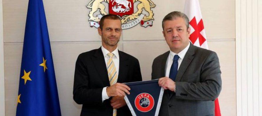 (+ფოტო) საქართველოს პრემიერ-მინისტრი UEFA-ს ახალ პრეზიდენტს შეხვდა