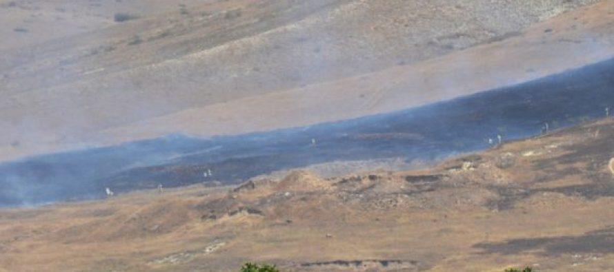სამხედროები გორთან კვერნაქის ქედზე ბალახზე გაჩენილ ცეცხლს აქრობენ