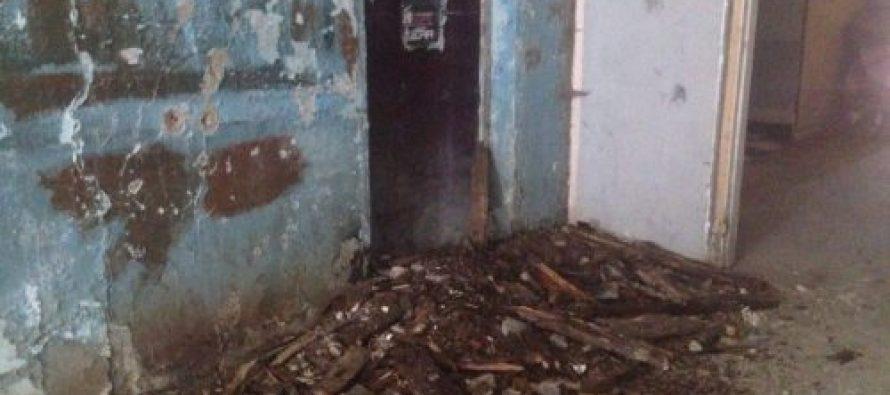 ზუგდიდში, რაიონული საავადმყოფოს ყოფილ შენობაში, სადაც დევნილები ცხოვრობენ, ჭერი ჩამოინგრა