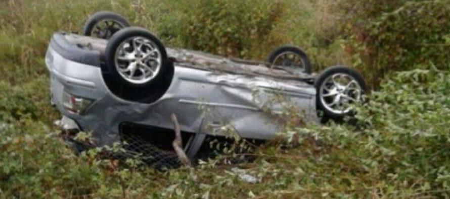 თელავი-გურჯაანის ავტომაგისტრალზე ავტომობილი სავალი ნაწილიდან გადავიდა და რამდენჯერმე ამოტრიალდა