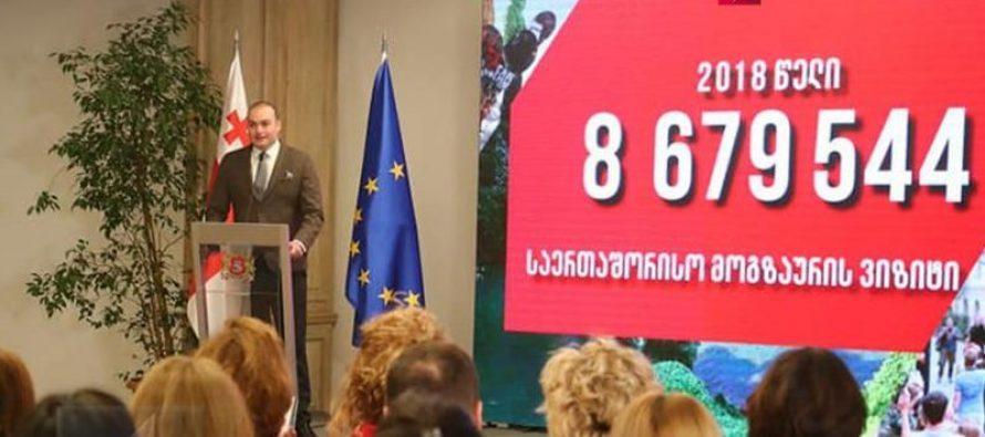 მამუკა ბახტაძე : 2018 წელს საქართველოში საერთაშორისო ვიზიტორების რაოდენობამ 8 679 544 ათასი შეადგინა, რაც ახალი რეკორდია