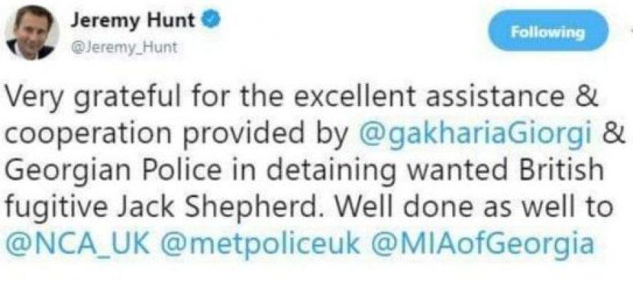 ბრიტანეთის გაერთიანებული სამეფოს საგარეო საქმეთა მინისტრი ჯერემი ჰანთი გიორგი გახარიას მადლობას უხდის