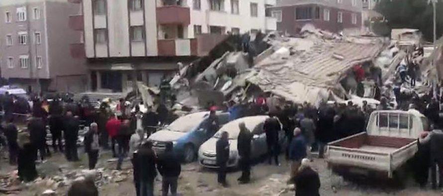 სტამბოლში ექვსსართულიანი სახლი ჩამოიშალა