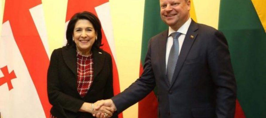სალომე ზურაბიშვილმა ლიეტუვის პრემიერ-მინისტრთან შეხვედრაზე ეკონომიკური თანამშრომლობის საკითხები განიხილა