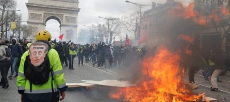 საფრანგეთის პრეზიდენტი ელისეის მინდვრებზე პროტესტის აკრძალვის შესაძლებლობებს განიხილავს