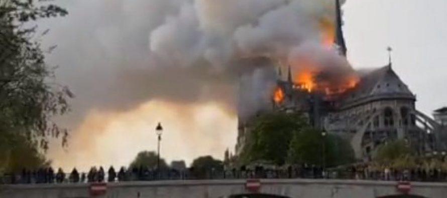 პარიზის ღვთისმშობლის ტაძარს ცეცხლი გაუჩნდა