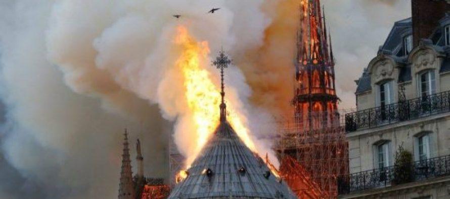 ხანძრის შედეგად, პარიზის ღვთისმშობლის ტაძრის კომპლექსის კოშკი ჩაინგრა (video)