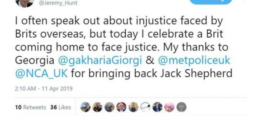 გიორგი გახარიას დიდი ბრიტანეთის საგარეო საქმეთა მინისტრი ჯეკ შეპარდის ექსტრადირებისთვის მადლობას უხდის
