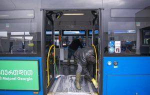 მუნიციპალური ტრანსპორტი სადეზინფექციო ხსნარებით მუშავდება