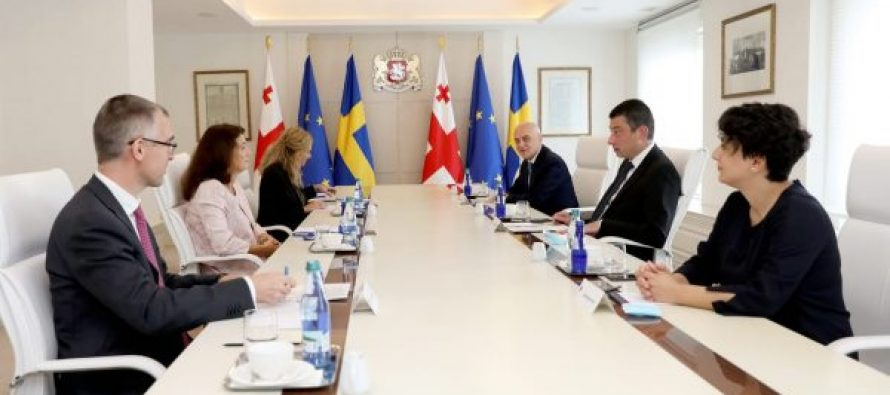 პრემიერ-მინისტრ გიორგი გახარიას შეხვედრა შვედეთის სამეფოს საგარეო საქმეთა მინისტრ ან ლინდესთან